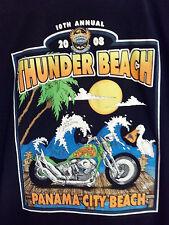 Bike Week 2008 Panama City Beach Black T Shirt XL Thunder Beach -Harley Davidson
