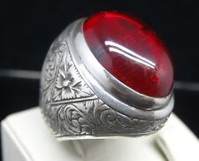 Handmade 925 Sterling Silver SPECİAL - HEAVY  Ruby Mens Ring Sz 11 Free Resize