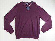 Sweater mens Large Roundtree & Yorke Dark Plum Purple Long Sleeve V-Neck