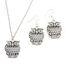 """Lady Jewelry Set Owl Earrings 18"""" Necklace Pendant 925 Silver Plated LF"""