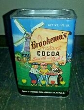 VINTAGE BROOKEMA'S INSTANT COCOA TIN BOX 1/2 LB DUTCH THEMED LABEL