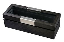Volta Charcoal Wood Finish 6 Watch Box Six Storage Case with See Through Top