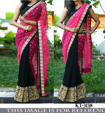 Beautiful Designer Party Wear Pink & Black  Color Half & Half  saree