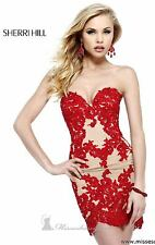 21187 Sherri Hill Red Crystal Lace Party Cocktail Prom Gown Dress Size USA 2