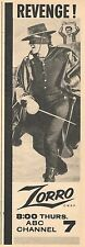 1958 TV AD~GUY WILLIAMS IS ZORRO~REVENGE !! WALT DISNEY ~ WDP