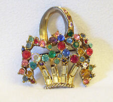ART DECO Rhinestone FLOWER BASKET Brooch Pin Giardinetto Vintage Signed Stunning