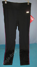 FILA~MEDIUM~Black & Pink Glo Side Piped Long Tight Pants #FW141F57