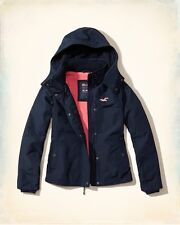 Hollister All Weather Hooded Women's Navy Lined Jacket Coat M Medium