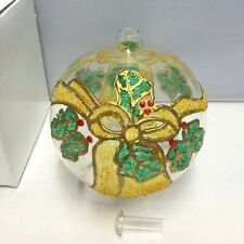 New in Box Hand Painted Christmas Holly Wreath & Bells Ornament Style Oil Lamp