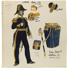 Old Historical Military Naval Maritime Captains Uniform Watercolour Sketch c1851