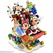 NEW Disney Parks Christmas Santa Mickey & Minnie Holiday Sleigh Figurine Figure