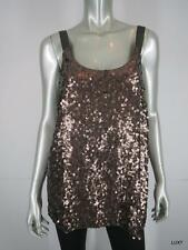 NWT $475 THEORY L 100% Silk ONDREA Sexy Metallic Brown Sequin Tank Top Cami NEW