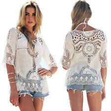 Boho Women Lace Crochet Hollow Out Beach Cover Up Half Sleeve Blouse Top Shirt
