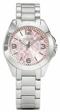 BRAND NEW COACH 14501782 TRISTEN SILVER STAINLESS STEEL PINK DIAL WOMEN'S WATCH