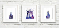 New York City Set of 3 Abstract Watercolor Paintings NYC Prints by Artist DJR