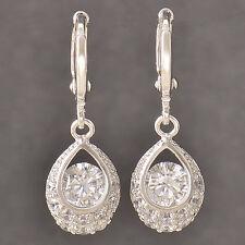 Deluxe 9K Silver/White Gold Filled Tear Drop CZ Womens Dangle Earrings,Z4435