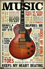 Music Inspires Me Poster - 22x34 Quotes Motivational Guitar