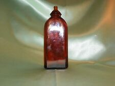 Vintage Amber Glass Apothecary Jar/Bottle, Dropper or Snuff Bottle W/Key Stone