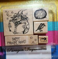 RARE Retired Stampin Up SPOOKY SPELLS Witch Raven Spider Halloween 2001 COMPLETE