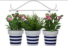 La Hacienda Nautical Stripe Wall Mountable 3 Pot Planter BNIB