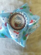 Christmas Hello Kitty  Hair Clip With Bow And Bottle Cap Center