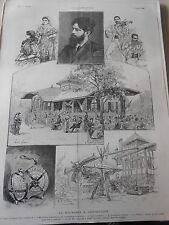 Gravure 1889 - La Roumanie à l'exposition Roumaines Lautars