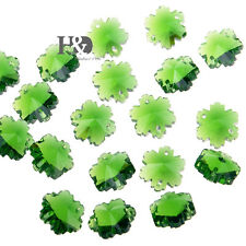 50 Snowflake Green Crystal Prisms Chandelier Decor Parts Faceted Glass Beads14mm