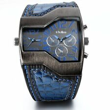 Wide Military Army Style Two Time Zones Movements Leather Watch Men's Boy's Gift