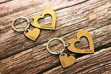 2 Piece Personalised Cutout Love Heart Keyring for Couples Friends Valentine's