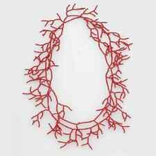 NEW Sundance CORAL Red Glass Long Seed Bead Necklace