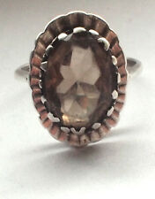 Solid 925 Sterling Silver Brown Gem Stone Burst Ring 14 1/2 O 7 1/4 Oval Large
