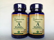 2 Bottles Puritan's Pride Vitamin A 10,000 IU From Retinyl Palmitate Made In USA
