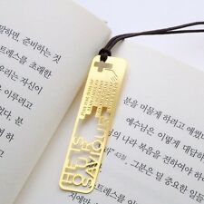 He is our SAVIOR Christian bible 18k gp bookmark with leather string for gift