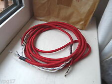 CHINESE RED TELEPHONE LEAD CORD 3 CORE  2.5M  SPADE CONNECTOR1963  NEW OLD STOCK