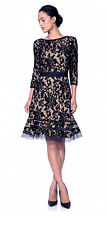 NWT TADASHI SHOJI Embroidered Lace ¾ Sleeve Dress w/ Sheer Cut Out NAVY NUDE- 6p