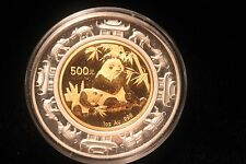 2007 Panda Lunar 1 Oz. Gold/Silver Coin Proof w/Case & Paper (Mintage 1000) NICE