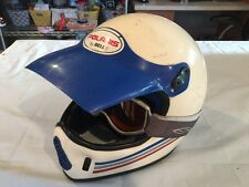Vintage Polaris Bell MX Motorcycle ATV Helmet with Goggles White and Blue