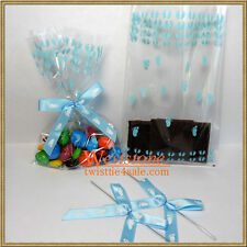 """25pcs 4""""x6"""" footprints treat bags and ribbon bows for  Baby Shower Party"""