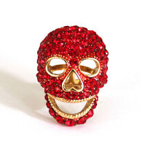 Butler and Wilson LARGE Red Crystal Enamel Skull Ring ONE SIZE