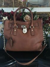 MICHAEL KORS LARGE HAMILTON LEATHER SATCHEL TOTE BAG LUGGAGE BROWN / TAN (COLOR)