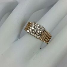14K YELLOW AND WHITE GOLD DIAMOND 5 ROW ROPE RING 6.25