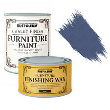 Rust-Oleum Chalky Furniture Paint Chic Shabby 750ml Ink Blue & 400ml Dark Wax