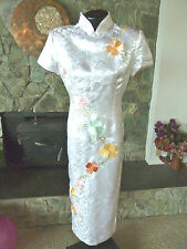 Taoyumei Cheong-sam Chinese Gown Wedding Dress  White Brocade w/ Flowers  New