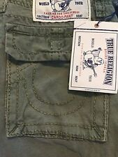 NWT TRUE RELIGION Sz42 CARGO BIG T PANT IN MILITARY GREEN $279.00