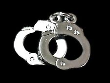 Handcuffs Tie Tack Hand Cuffs Police Sheriff Security Jailer Nickel Plated P3605