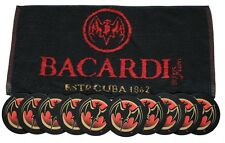 BACARDI CUBA  Pub Bar Towel & 10 matching Beer Mat Coasters
