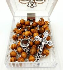 Olive Wood Rosary Beads Necklace with Jerusalem Soil, Catholic Cross in Gift Box