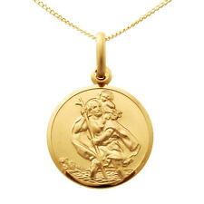 "9CT GOLD ST SAINT CHRISTOPHER PENDANT CHAIN NECKLACE WITH 18"" CHAIN - 16mm"