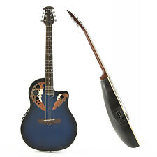 New Deluxe Roundback Electro Acoustic Guitar by Gear4music, Blue Burst