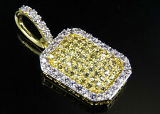 Yellow Gold Finish Pillow Canary Simulated Diamond White Border Pendant Brass 1""